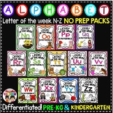 Letter of The Week ALPHABET WORKSHEETS- NO PREP-BUNDLE 2 (LETTERS N-Z)