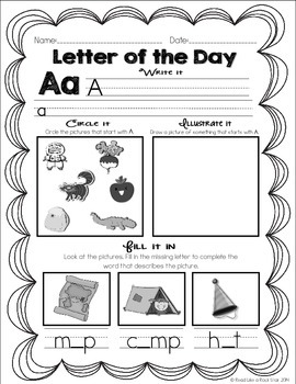 Letter of the Day Activities