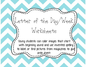Letter of the Day/Week - Collage Worksheet