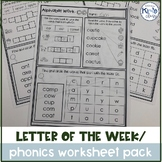 Letter of the Week / Phonics Worksheet Pack
