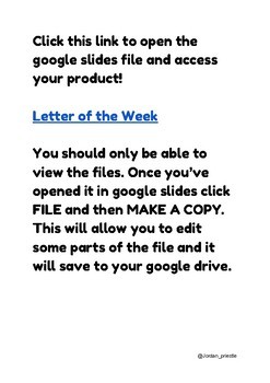 Letter of the Week A-Z: google slides