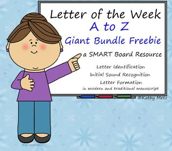 Letter of the Week:  A to Z Giant Bundle Freebie:  A SMART Board Resource