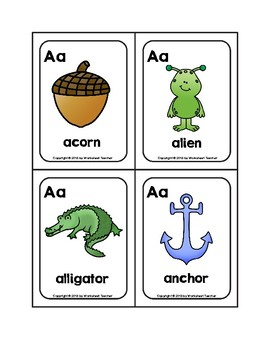 Letter Aa Picture Word Flash Cards