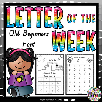Letter of the Week Worksheets QLD Beginners Font