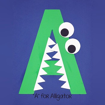Alphabet Art Craftivity, Upper A (Alligator)