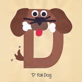Alphabet Art Craftivity, Upper D (Dog)
