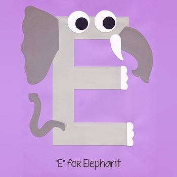 Alphabet Art Craftivity, Upper E (Elephant)