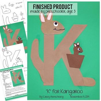 Alphabet Art Craftivity, Upper K (Kangaroo)