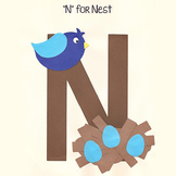 Alphabet Art Craftivity, Upper N (Nest)