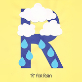 Alphabet Art Craftivity, Upper R (Rain)