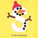 Alphabet Art Craftivity, Upper S (Snowman)
