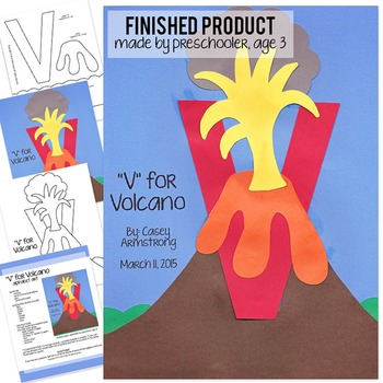 Alphabet Art Craftivity, Upper V (Volcano)