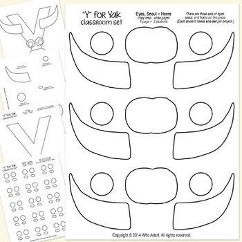 Alphabet Art Craftivity, Upper Y (Yak)