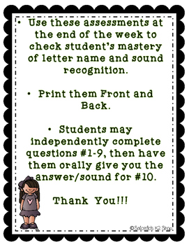 Letter of the Week Assessments