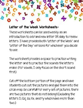 Letter of the Week/Day Introduction Worksheets