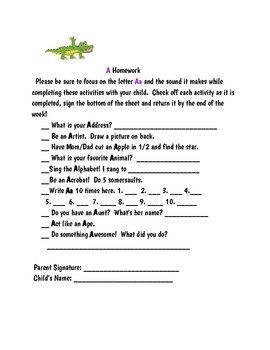 Letter of the Week Homework for Young Learners
