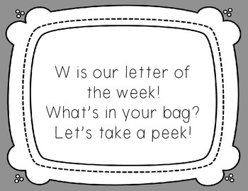 Letter of the Week: Letter W