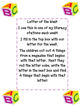 Letter of the Week Literacy Center