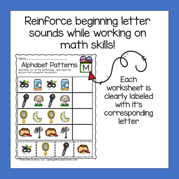 Preschool Math Patterns with the Alphabet Worksheets