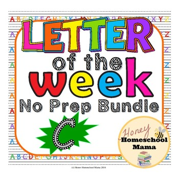 Letter of the Week - No Prep Print and Go Set for the Letter C - 40 Pages