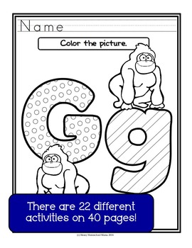 Letter of the Week - No Prep Print and Go Bundle for the Letter G - 40 Pages