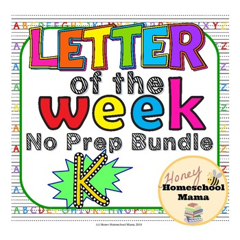 Letter of the Week - No Prep Print and Go Bundle for the Letter K - 40 Pages