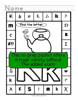 Letter of the Week - No Prep Print and Go Set for the Letter K - 40 Pages