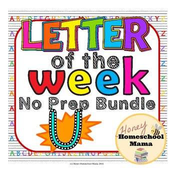 Letter of the Week - No Prep Print and Go Bundle for the Letter U - 40 Pages