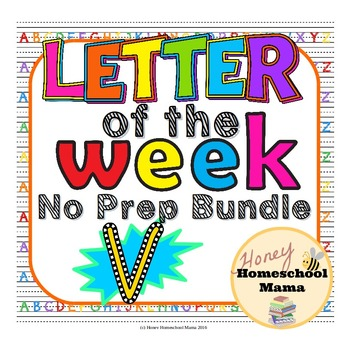 Letter of the Week - No Prep Print and Go Bundle for the Letter V - 40 Pages