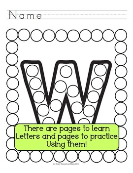 Letter of the Week - No Prep Print and Go Set for the Letter W - 40 Pages