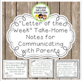 Letter of the Week Take-Home Notes for Parents
