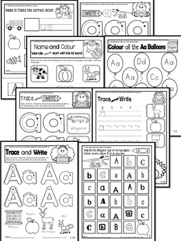 Letter of the week-LETTER A-NO PREP WORKSHEETS- CANADIAN SPELLING