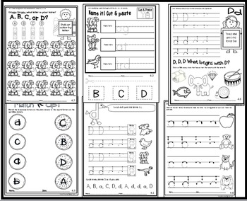 Letter of the week-LETTER D-NO PREP WORKSHEETS- LETTER D PACK