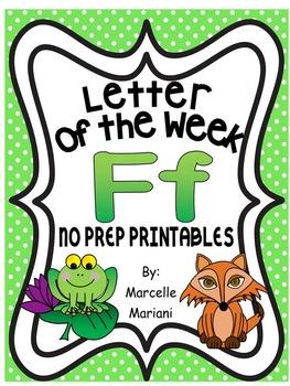 Letter of the week-LETTER F-NO PREP WORKSHEETS- LETTER F PACK