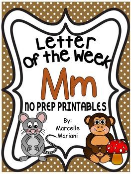 Letter of the week-LETTER M-NO PREP WORKSHEETS- LETTER M PACK