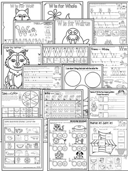 Letter of the week-LETTER W Activity PACK-letter recognition & identification-US
