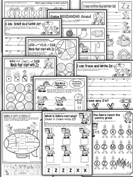Letter of the week-LETTER Z Activity PACK-letter recognition & identification-US