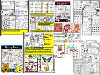 ALPHABET WORKSHEETS MEGA PACK BUNDLE 1-LETTERS A, B, C, D ACTIVITY PACKS