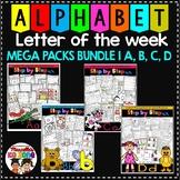 ALPHABET WORKSHEETS- LETTER OF THE WEEK- MEGA PACK BUNDLE 1- A, B, C, D
