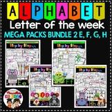 ALPHABET WORKSHEETS MEGA PACK BUNDLE 2-LETTERS E, F, G, H ACTIVITY PACKS