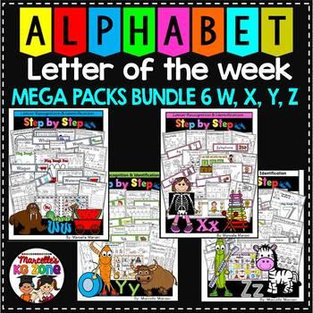 ALPHABET WORKSHEETS MEGA PACK BUNDLE 6-LETTERS W, X, Y, Z ACTIVITY PACKS