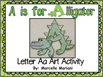 Letter A-Art Activity Template-A is for Alligator art