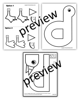 Letter of the week-Letter D-Art Activity Templates- A letter D Craftivity