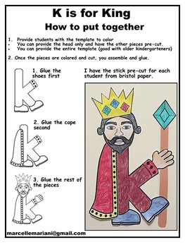 Letter of the week-Letter K- K is for KING- A letter K Art Activity