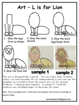 Letter L Art Activity Template- L is for Lion Art Activity