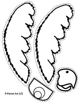 Letter P Art Activity Template- P is for Parrot