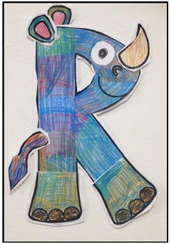 R is for rooster art activity and R is for Rhino art activity templates