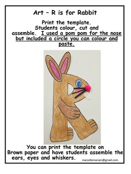 Letter of the week-Letter R Art Activity Templates- R is for Rabbit Art activity