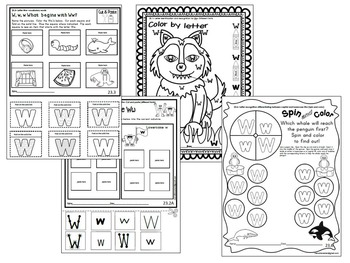 Letter of the week- Letter W Literacy Center Activities for kindergarten