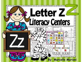 Letter of the week- Letter Z Literacy Center Activities for kindergarten